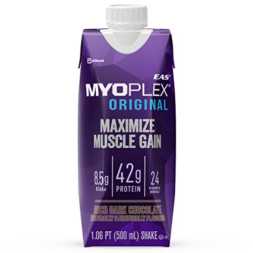 EAS Myoplex Original Ready-To-Drink Protein Shake, Rich Dark Chocolate, 17 oz, 4 count (Pack of 3)