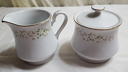 (Ekco Eterna SPRING MEADOW Creamer & Sugar Bowl w Lid Fine Porcelain China #1306)