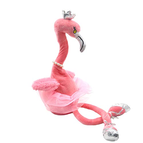Millffy Swan Plush Toys Flamingo Doll Stuffed Animal Ballet Crown Dancing Music Toy (Pink, 50cm with Legs)