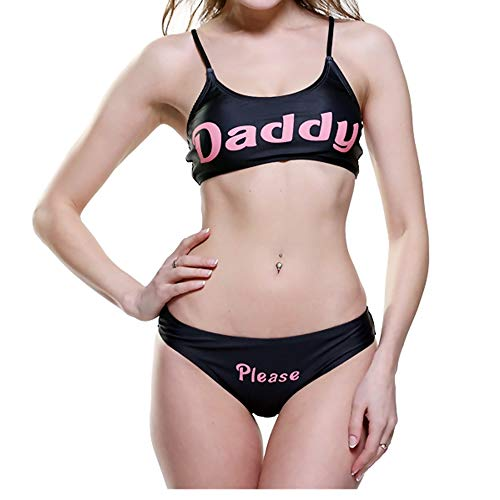 Sexy Bathing Suits for Women Padded Push-up Bra Bikini Set Yes Daddy Print Panties 2 Piece Swimsuits (Black, Medium) ()