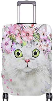 (ソレソレ)スーツケースカバー 防水 伸縮素材 キャリーカバー ラゲッジカバー 白猫 猫柄 花柄 かわいい 可愛い ホワイト 可愛い おしゃれ 防塵 旅行 出張 便利 S M L XLサイズ