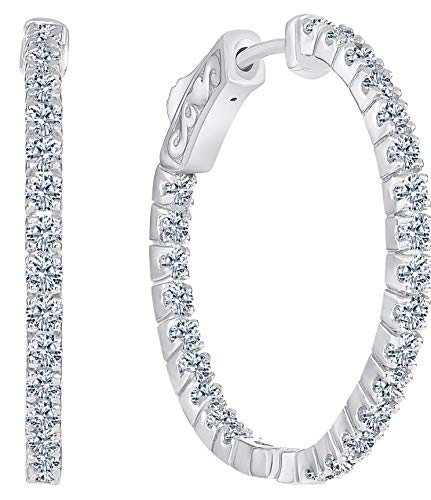 Beverly Hills Jewelers 1.00 Carat T.w. Beautiful Inside-Out Hoop Earring Top Shine, Real Natural G-H color White Diamond, Round Brilliant Cut, Set in 14k White Gold, with Super Secure Lock