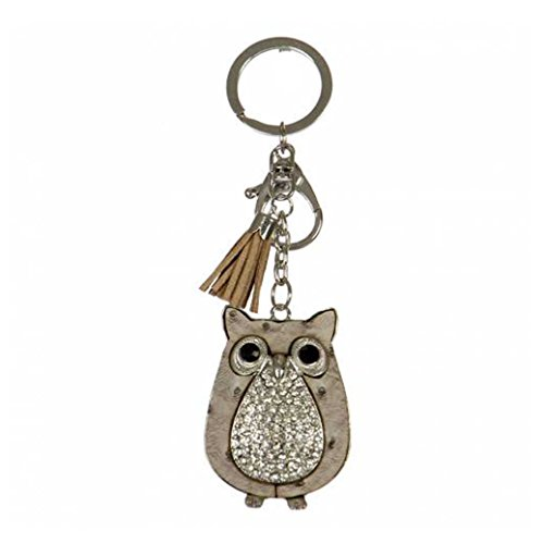 Crown Rhinestone Studded Keychains, Car Keychains, Key Rings, Bag Charm (Various Choices) (Owl-Rhodium)