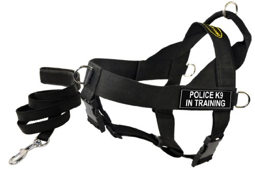 Dean and Tyler Bundle One DT Universal Harness, POLICE K9, LARGE (31'' - 42'')with One Matching Padded Puppy Leash, 6-Feet Stainless Snap, Black by Dean & Tyler