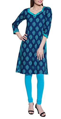 ShalinIndia V-neck Long Sleeve Blue Ikat Print Summer Cotton Dress - Unique Women's Fashions Blue - Online Indian Shopping