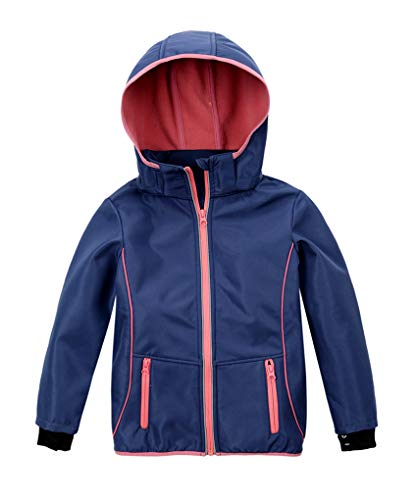 M2C Girls Hooded Fleece Lined Waterproof Windproof Jacket Blue 8/9