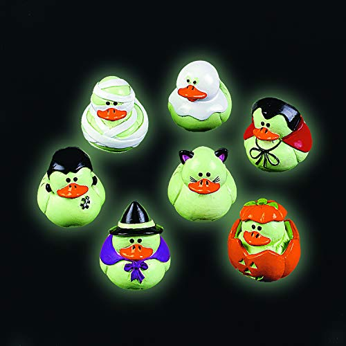 Mini Glow-in-the-Dark Halloween Rubber Duckies - Party and
