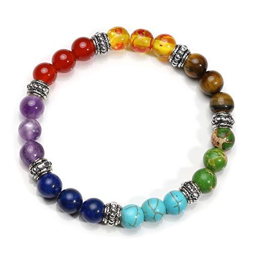 Milakoo Men Women 7 Chakras Bracelet Healing Balancing Reiki Yoga Prayer Beads 8mm
