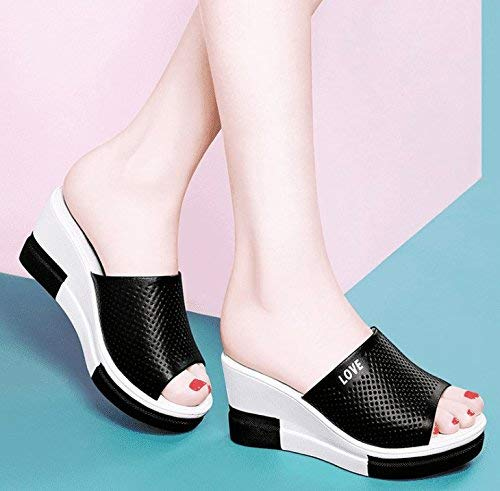 Oudan Womens flip Flops Slope Casual Thick Bottom High Heel Waterproof Black 7.5 US//38 EU//5 UK Color : As Shown, Size : One Size