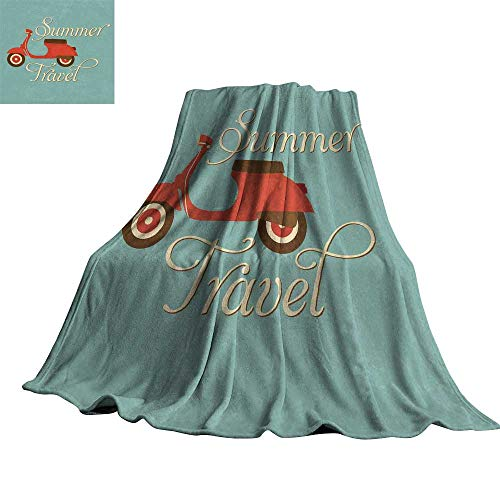 """Price comparison product image WinfreyDecor 1960s Decorations Super Soft BlanketsSummer Travel Scooter Vacation Vespa Classic Wheels Rock Cool Cycle Hippy Motorbike Design 60"""" Wx80 L"""