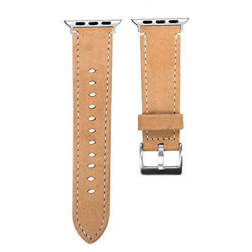 (JP-DPP9 Watch Band,Fashion Delicate Elegant Premium Genuine Leather Replacement Bracelet Wristband Strap Band for Apple Watch Series 4 44mm (Coffee))
