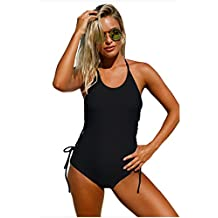 Bikini Swimming Pool Party Round Neck Sling With Solid Color Chest Pad One-Piece Swimmingsuit,Black S
