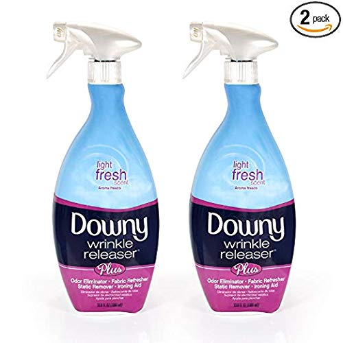 Downy Wrinkle Release Spray Plus, Static Remover, Odor Eliminator, Fabric Refresher and Ironing Aid, Light Fresh Scent, 33.8 Fluid Ounce (Pack of 2) (Limited Edition)