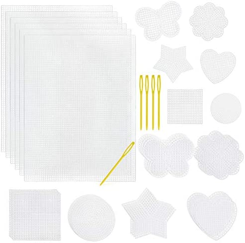 Pllieay 60 Pieces Mesh Plastic Canvas Kit Including 6 Shapes 3 Inch Clear 12 and