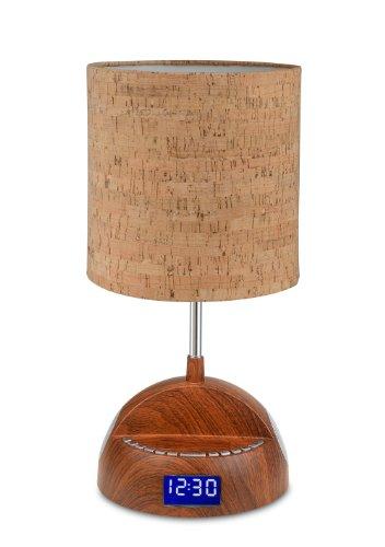 LighTunes LS1001-WOD-BT Bluetooth Speaker Lamp with Alarm Clock, FM Radio, and USB Charging Port, Wood Grain (Radio Clock Mp3)