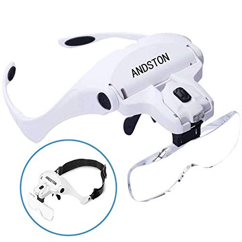 Magnifying Glasses - ANDSTON Head Mount Magnifier with Light, 2 LED Professional Jewelry Magnifying Glass Light Bracket and Headband are Interchangeable