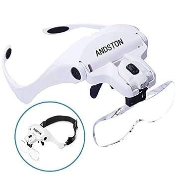 Amazon.com: Andston - Lupa de montaje con 2 luces LED ...