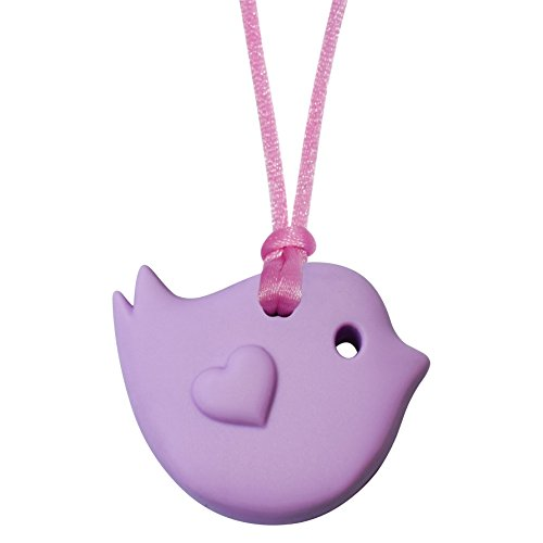 Munchables Little Bird Chewable Pendant - Sensory Chew Necklace (Purple)