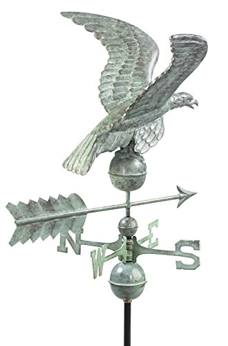 [Good Directions Smithsonian Eagle Weathervane, Blue Verde Copper] (Weathervane Stand)