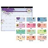 "AT-A-GLANCE 2019 Desk Calendar, Desk Pad, 21-3/4"" x 17"", Standard, Paper Flowers (5035)"
