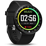 FITVII Smart Watch, Full Touch Screen Fitness Tracker with Self-Defined Standby Interface, IP68 Waterproof Heart Rate & Blood Pressure Monitor, 9 Sport Mode Activity Tracker for iPhone & Android Phone