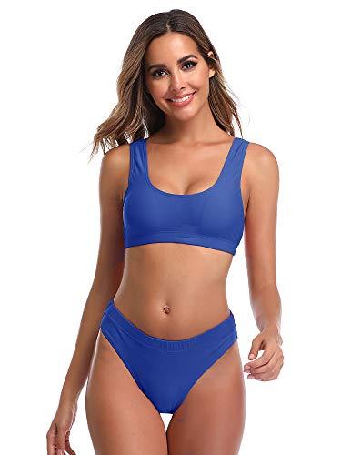 Summer Mae Woman's Two Pieces Bikini Sets Sports Swimsuit Low Top High Waisted High Bottom Blue (Light Blue Striped Bikini)