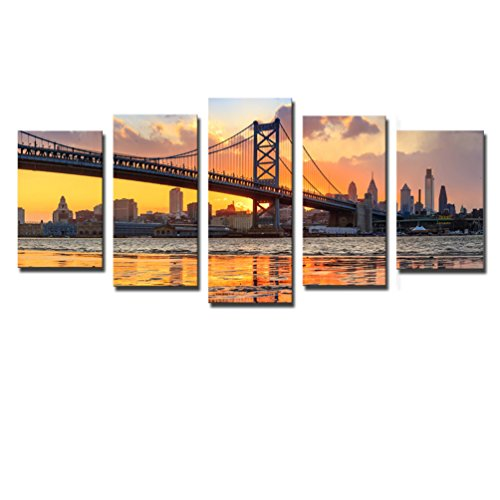 Noah Art-Contemporary Bridge Art Print, Philadelphia Ben Franklin Bridge Architecture Artwork Landscapes Pictures on Canvas Prints, 5 Piece Gallery Wrapped Canvas Bridge Wall Art for Living (Master 5 Piece Place Setting)
