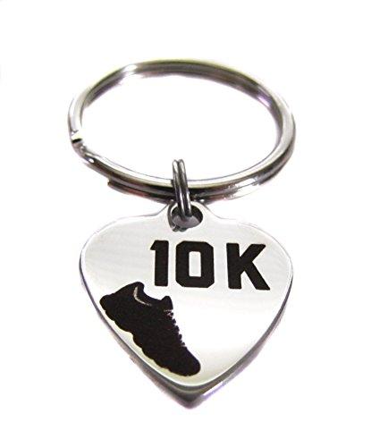 10k Race Charm - Stainless Steel 10k Running Shoe Heart Charm, Keychain Bag Charm Key Chain Zipper Pull Runner Gift