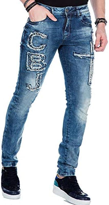 Cipo & Baxx dżinsy męskie spodnie Destroyed Slimfit Vintage Denim Straight Jeans spodnie z nitami niebieskie W34 L34: Odzież