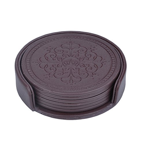 HappyDavid Leather Round Placemats Cup Mat Set of 6 with Coaster Holder for Fine Wine Beer or Any Beverage Use on Bars or Fine Furniture in Your Kitchen (brown round)