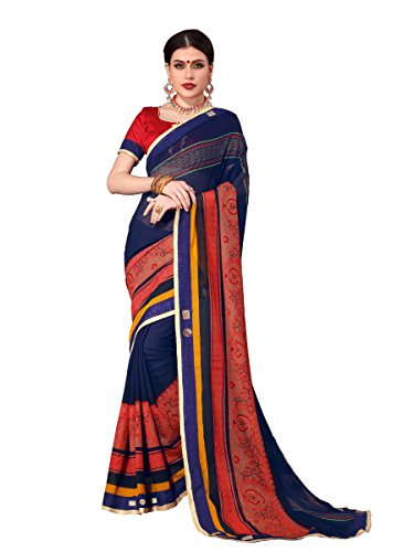 ELINA FASHION Saree For Women Blue Royal Chiffon Foil Print Embroidery Sarees (Print Saree)