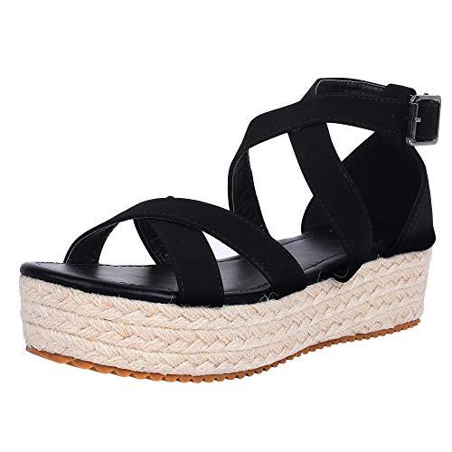 LAICIGO Women's Platform Espadrilles Crisscross Open Toe Ankle Buckle Summer Dress Sandals (40 EU - 9 B(M) US, - Braided Platform