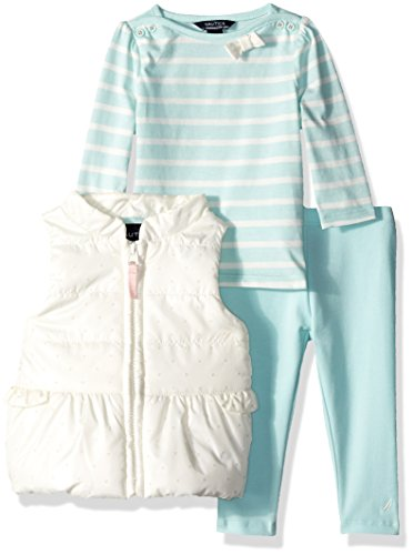 - Nautica Baby Girls' Three Piece Vest, Top and Pant Set, Cream/Pale Blue, 0/3 Months