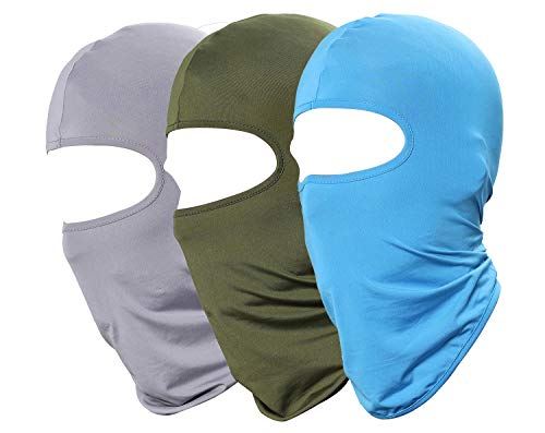 Pack of 3 Ski Mask Windproof Sun Balaclava Motorcycle Hat-Outdoor Paintball Hunting Fishing Face Masks Green