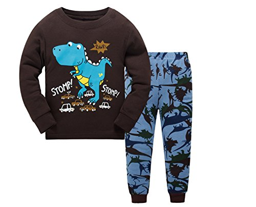 Tkala Boys Pajamas Children Clothes Set Dinosaur 100% Cotton Little Kids Pjs Sleepwear (8, Brown) -