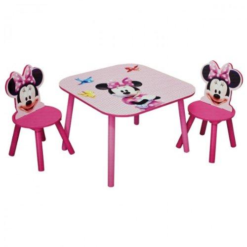 Disney Minnie Mouse Tisch mit Stühlen 60x60cm Holz Kindersitzgruppe ...