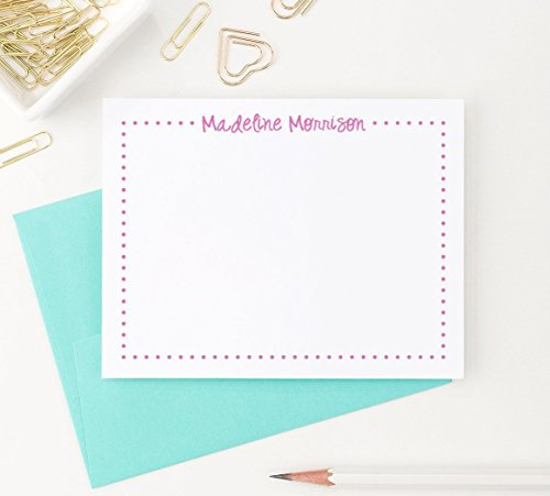 Personalized Stationery Kids (Polka Dot Stationery Set for Girls, Girls Personalized Stationery set of 10 note cards and envelopes)
