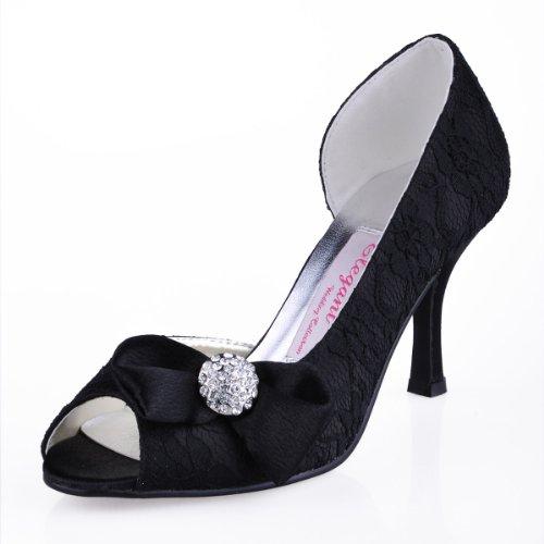 Elegantpark EL-042 Black Women's Peep Toe Lace Bows Rhinestone High Heel Bridesmaid Shoes US 10