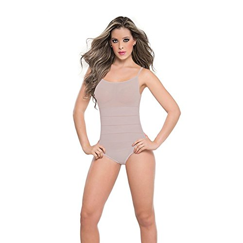Seamless Minimizer Bodysuit - Perfect Shapers Tank Top Bodysuit Thong Style Shapewear with Spaghetti Straps (Beige, M)