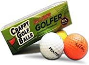 Crappy Golf Balls for a Crappy Golfer - Sleeve of Crappy Balls - Funny Gag Gifts for Golfers - Guaranteed Not