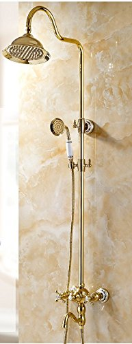 ZXY Continental gold Shower Shower Set All Copper Hot Hot Bathroom Sanitary Ware Shower Handheld Wall-Mounted Shower Head