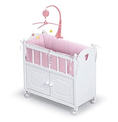 Badger Basket White Doll Crib With Cabinet Bedding And Mobile - Pink/White