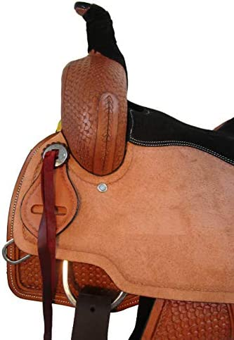 41R8J6SNoKL. AC  - Comfy Trail Saddle Pleasure Horse TACK Hand Tooled Leather Roping Roper 15 16 17