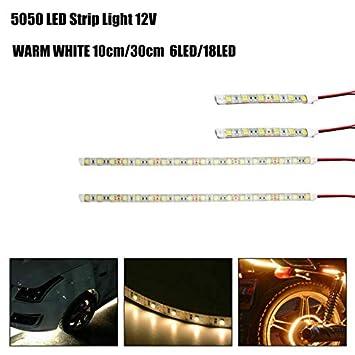 Maso Lot de 2 Bandes Lumineuses /à LED 5050 12 V 10//30 cm pour int/érieur de Voiture Blanc//Blanc Chaud//Bleu//Rouge//Vert