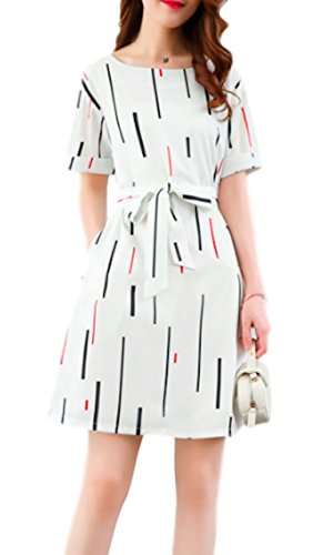 ts-store Women Short Sleeve Floral Printed Casual A-line Flare Retro Wrap Midi Dress Lace Neck (White, XL) Sash Medium Long Pierced Slim for Party Cocktail Round Fit Soft Elegant Swing ()
