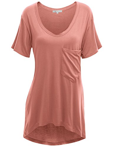 Doublju Deep V-Neck Oversized T-Shirt Dress With Chest Pocket For Women With Plus Size Peach Large