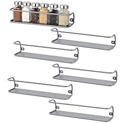 Kitchen NEX 6 Pack Wall Mounted Spice Rack for Pantry Cabinet spice racks