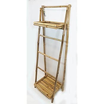 """5 Bamboo Ladder Rack with two shelves, 19""""W x 60"""" H"""