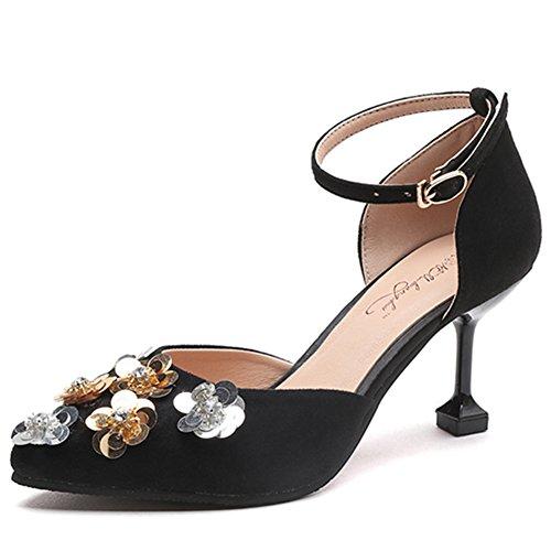 Europea Sandalias Hebilla El Moda Negro Verano En Con Flores Rhinestone Los Señaló Zapatos Contratista 4qaHAUwF