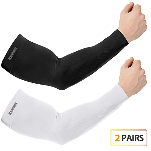 KMMIN Arm Sleeves, UV Protection Sleeves for Driving Cycling Golf Basketball Warmer Cooling Arm Sleeves UPF 50 Sunblock Protective Gloves for Men Women Adults Covering Tattoos(Black+White)